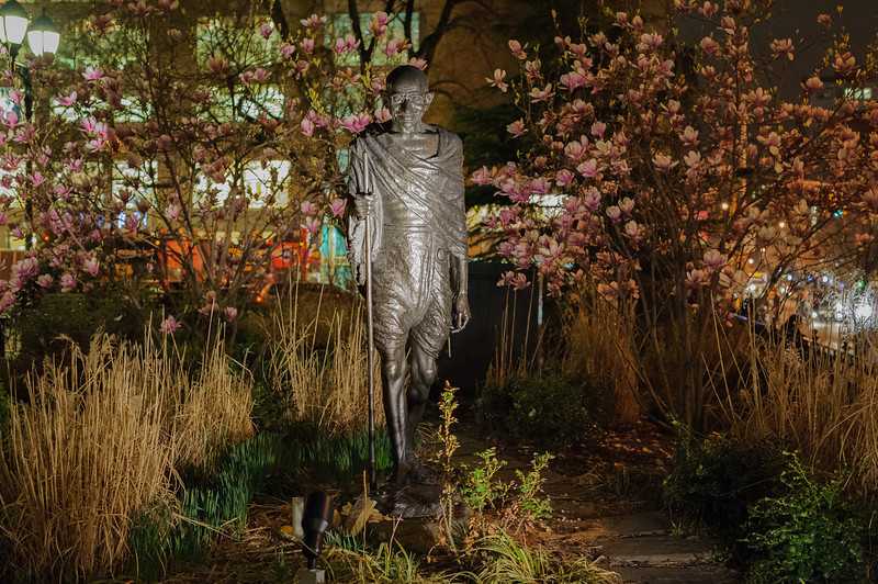 Mohandas Gandhi Statue in Union Square Park at night, New York City