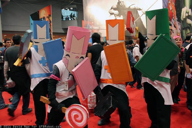 Blue Knight, Pink Knight, Orange Knight, and Green Knight