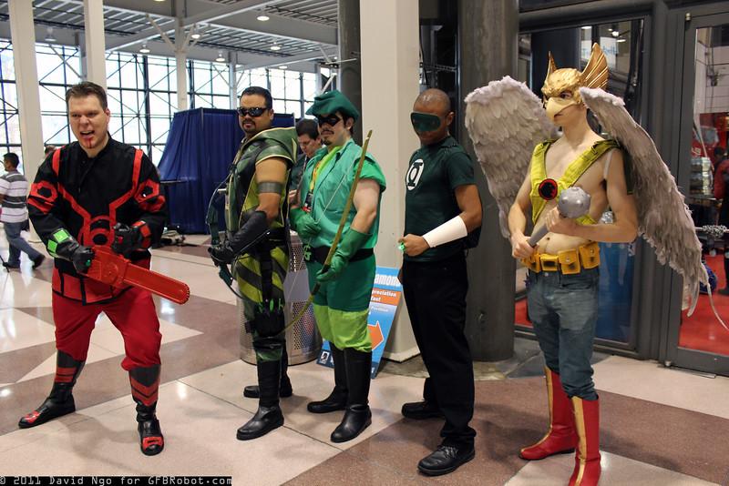 Ash Williams, Green Arrows, Green Lantern, and Hawkman