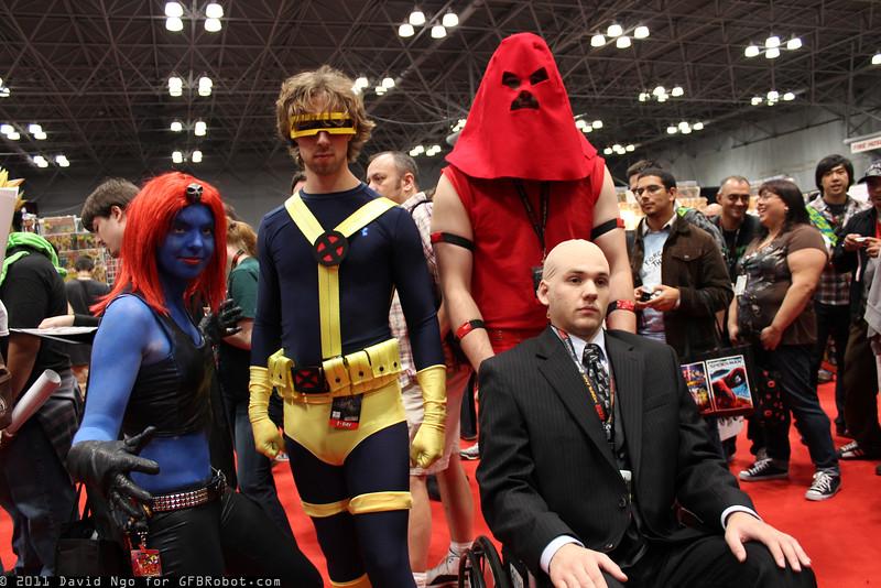 Mystique, Cyclops, Juggernaut, and Professor X