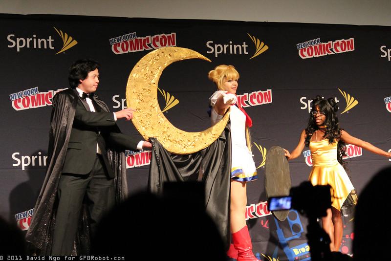 Tuxedo Mask, Sailor Moon, and Luna