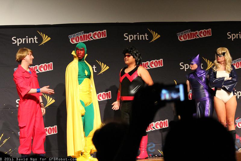 Dr. Hank Pym, Vision, Wonder Man, Hawkeye, and Mockingbird