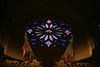 "Stained glass is 40 feet in diameter.  The center stained glass of Jesus Christ is 5'7"" inches"