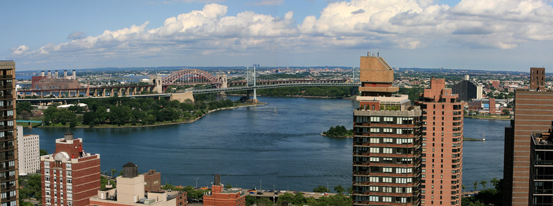 View from Carnegie Hill apartment on 94th. Confluence of the East and Harlem River New York City, NYC