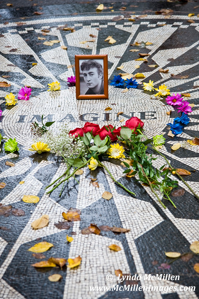 "John Lennon memorial in Central Park, ""Strawberry Fields"""