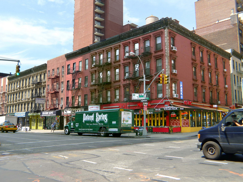 Second Avenue and 85th Street.  Miraculously, the block has not been razed and replaced with faceless monoliths.  I think four-story houses with roof cornices and window trim are very typical  of New York, and very beautiful.