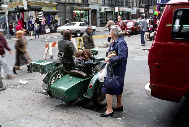 We met a vintage motorcycle and sidecar.