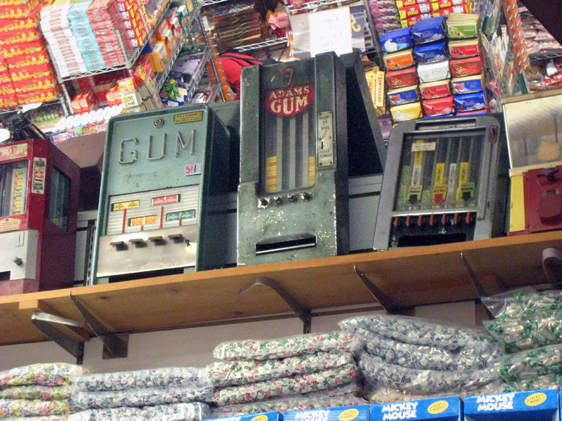 I remember when Adams gum machines like this one were situated on New York subway platforms.  You fed them a penny and you got a mote of gum.