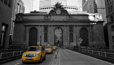 Grand Central Station, seen from a partially closed Park Avenue