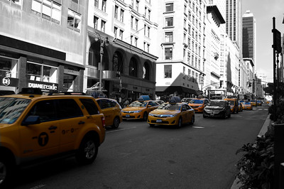 Taxis at East 35th Street and 5th Avenue