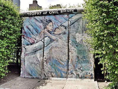 A Piece of the Berlin Wall in The United Nations Garden