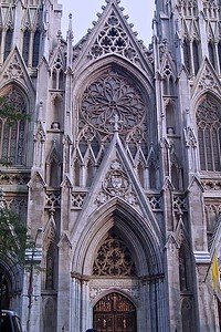 Front Facade of St. Patrick's Cathedral in New York City