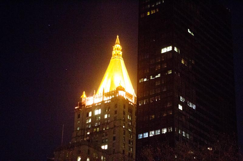Golden Light at Night in Manhattan
