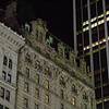 Architecture lit by streetlights in Manhattan