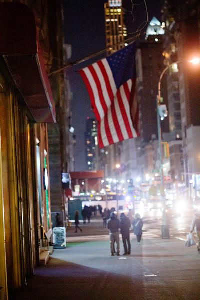 Flag at Night in Manhattan