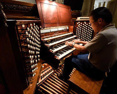 At the cathedral's E.M. Skinner organ (1910)