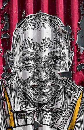 Peeling Portrait on Corrugated Metal wall Red Hook Brooklyn