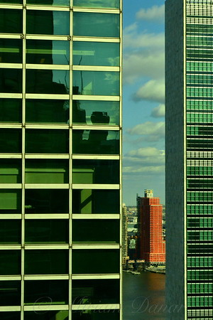 Long Island City Queens Framed by the United Nations Building - Famous Buildings and Landmarks of New York City