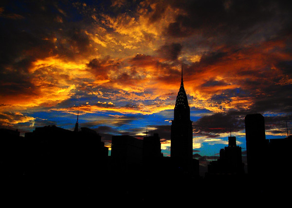 Golden Sunset Indigo Sky - With Chrysler Building - Landmark Buildings of New York City