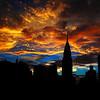 Golden Sunset Indigo Sky - With Chrysler Building - Landmark Buildings of New York City