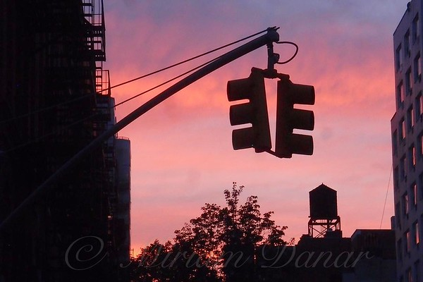 Water Tower and Traffic Light - New York City Sunset