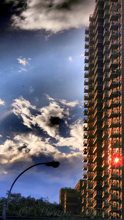 Highrise and Streetlight at Sunset - Architecture of New York City