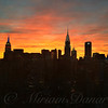 Fiery Sunset New York with Chrysler and Empire State Buildings