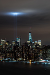 View of lower Manhattan and Tribute in Light