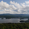 Panoramic view of Blue Mountain Lake from Castle Rock