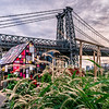 View of Williamsburg Bridge and Tom Fruin's Stained Glass House
