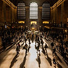 The morning sun shining into Grand Central Terminal