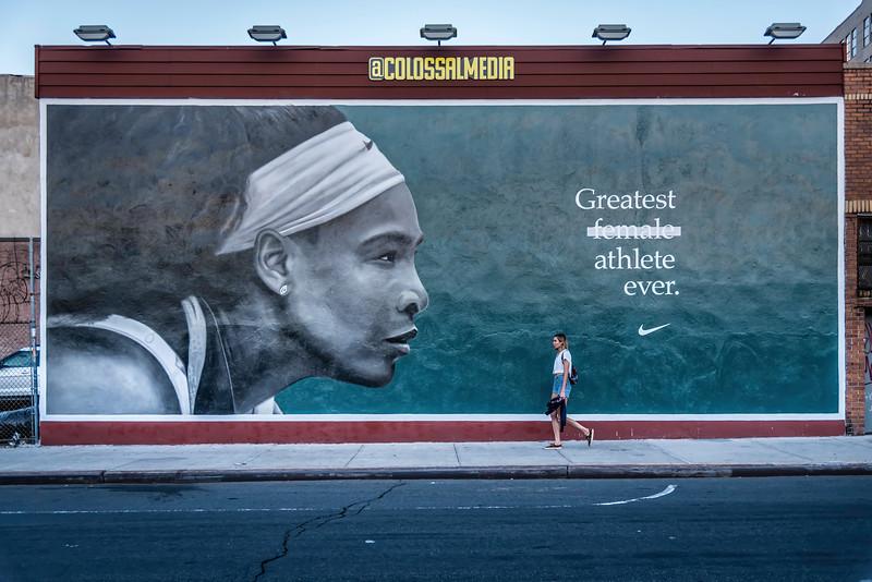 Wall mural of Serene Williams at Kent Avenue