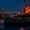 View of Queensboro Bridge and the Pepsi-Cola landmark sign in Long Island City