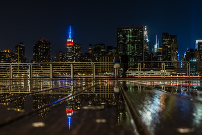 Reflection of Manhattan skyline at Gantry Plaza State Park