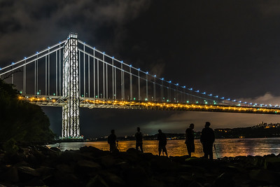 George Washington Bridge lit up for Memorial Day