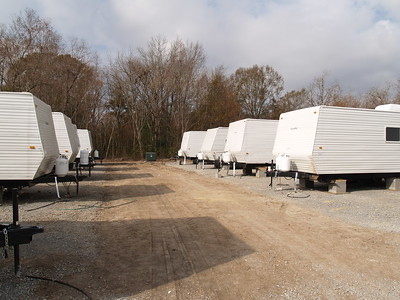 Shaw Trailer Lot   - The road between trailers is about 20 feet wide