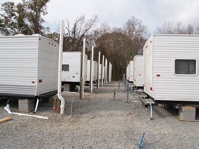 Shaw Trailer Lot  - The row between Tailers back to back and also side by side is about 12 feet.
