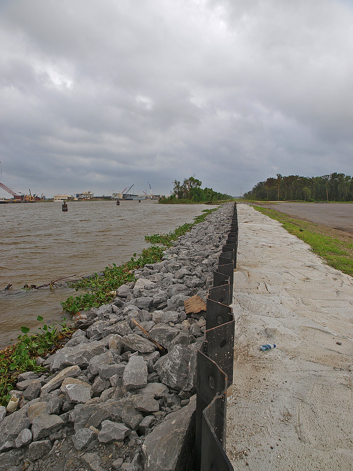 Click on the picture for larger view.<br /> <br /> This is a levee for the Harvey canal near my house in Marrero, LA.  This water is so high due to Hurricane IKE.