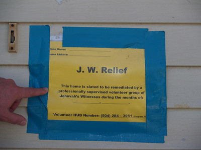 A special tag for Jehovah's Wetness Relief effort from the Mayor and the City of New Orleans.