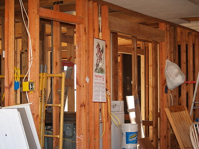 Inside the friends'  house - It has been Gutted of Sheetrock because of Mold