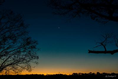 Catskill Dawn with Moon