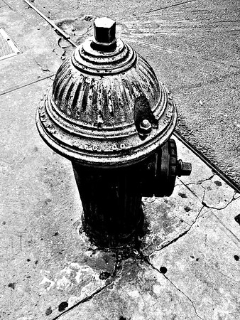 Antique Vintage Fire Hydrant - Black and White - Iconic New York City