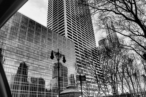 As Seen From a Taxi - Modern Architecture of New York City with Vintage Streetlamp