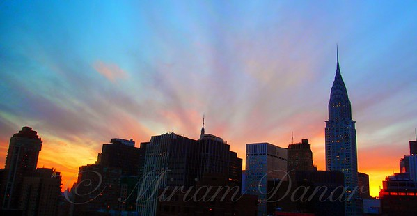 Magnificent Sunset with Chrysler Building - New York City Skyline