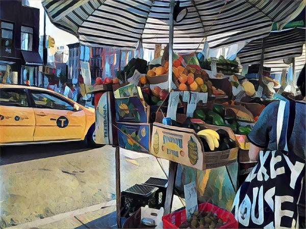Market Day in New York - Fruitstand Umbrella and Taxi