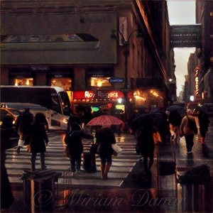 Hurrying Home - New York in the Rain