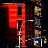 Red Building with Yellow Streetlight - Old Buildings and Architecture of New York City