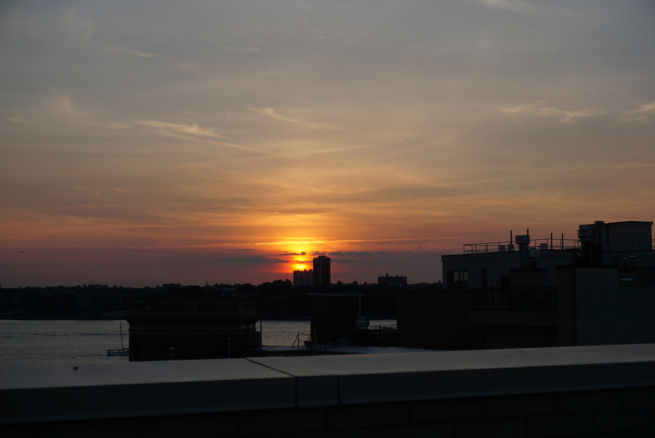 Sunset captured on the rooftop of Laura's building. Rooftop also has a nice view of the Hudson River close by.