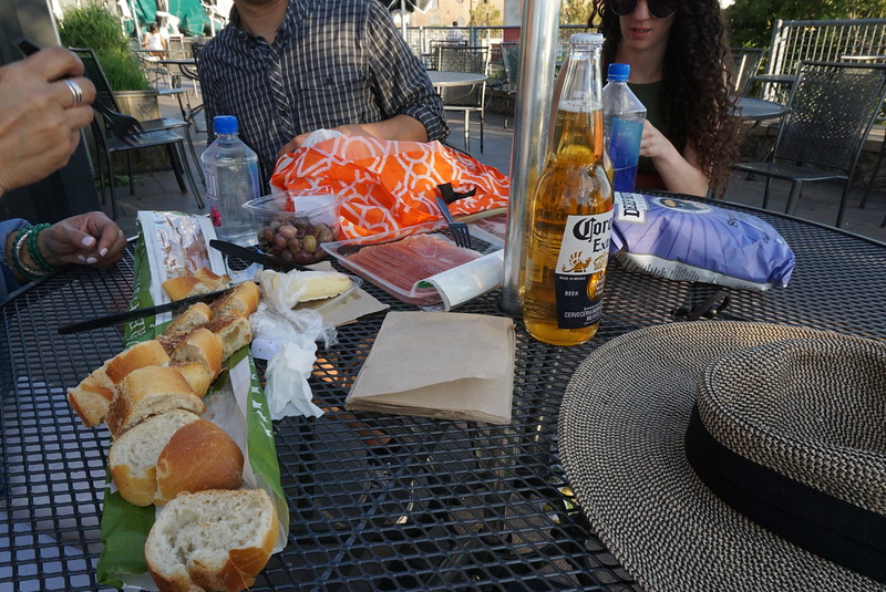 Decent spread with baguette, frommage d'affinois, olives, iberico jamon, maui chips and Corona. Unfortunately alcohol policies were strict unbeknownst to us tourists, bummer!
