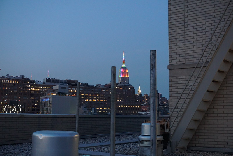 In honor of pride, the Empire State building is lit with the pride colors.